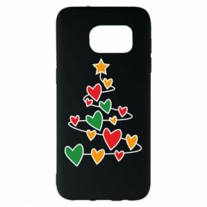 Samsung S7 EDGE Case Christmas tree and a lot of hearts