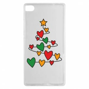 Huawei P8 Case Christmas tree and a lot of hearts