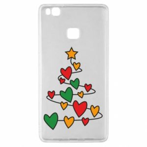Huawei P9 Lite Case Christmas tree and a lot of hearts