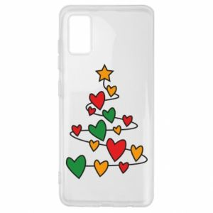 Samsung A41 Case Christmas tree and a lot of hearts