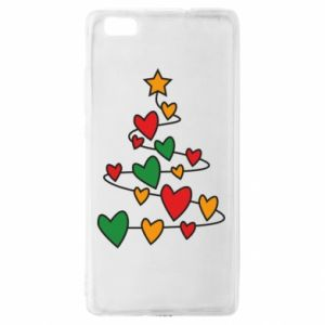 Huawei P8 Lite Case Christmas tree and a lot of hearts