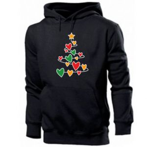 Men's hoodie Christmas tree and a lot of hearts
