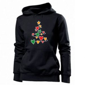 Women's hoodies Christmas tree and a lot of hearts