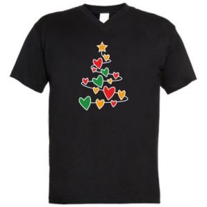Men's V-neck t-shirt Christmas tree and a lot of hearts