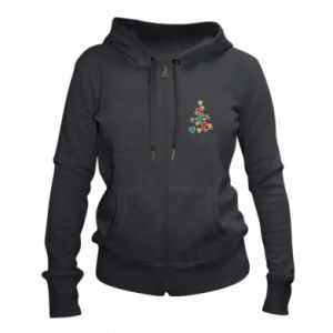 Women's zip up hoodies Christmas tree and a lot of hearts
