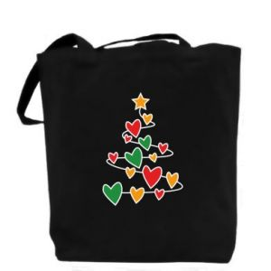 Bag Christmas tree and a lot of hearts