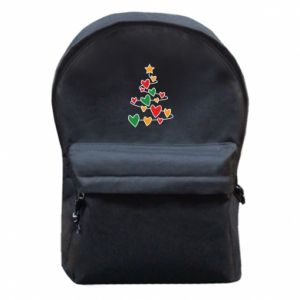 Backpack with front pocket Christmas tree and a lot of hearts