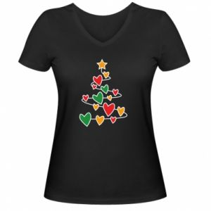 Women's V-neck t-shirt Christmas tree and a lot of hearts