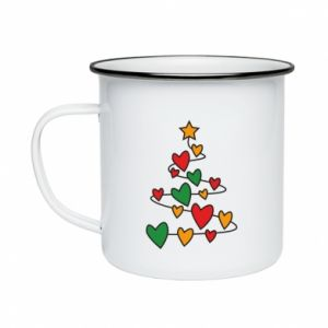 Enameled mug Christmas tree and a lot of hearts