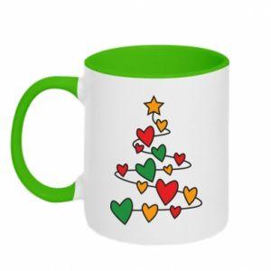 Two-toned mug Christmas tree and a lot of hearts