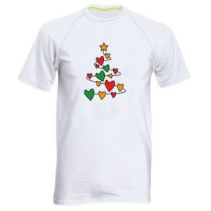 Men's sports t-shirt Christmas tree and a lot of hearts
