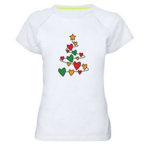 Women's sports t-shirt Christmas tree and a lot of hearts