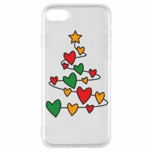 Phone case for iPhone 7 Christmas tree and a lot of hearts