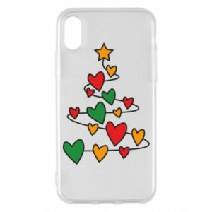 Phone case for iPhone X/Xs Christmas tree and a lot of hearts