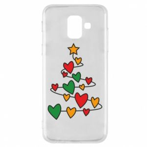 Phone case for Samsung A6 2018 Christmas tree and a lot of hearts