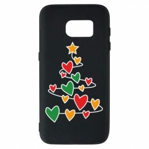 Phone case for Samsung S7 Christmas tree and a lot of hearts