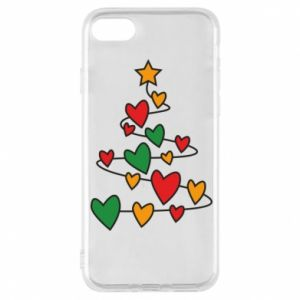 Phone case for iPhone 8 Christmas tree and a lot of hearts