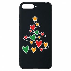 Phone case for Huawei Y6 2018 Christmas tree and a lot of hearts