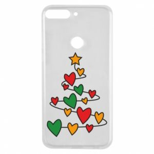 Phone case for Huawei Y7 Prime 2018 Christmas tree and a lot of hearts