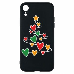 Phone case for iPhone XR Christmas tree and a lot of hearts
