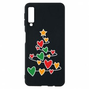 Phone case for Samsung A7 2018 Christmas tree and a lot of hearts