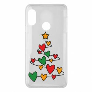 Phone case for Mi A2 Lite Christmas tree and a lot of hearts