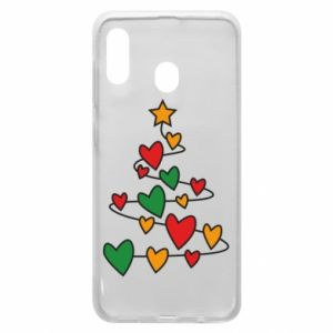 Phone case for Samsung A20 Christmas tree and a lot of hearts