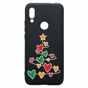 Phone case for Xiaomi Redmi 7 Christmas tree and a lot of hearts