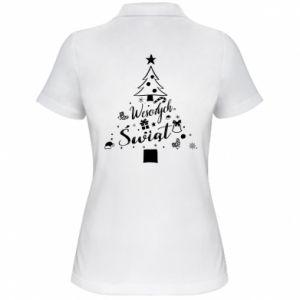 Koszulka polo damska Choinka Świąteczna