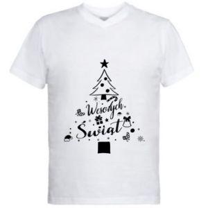 Męska koszulka V-neck Choinka Świąteczna