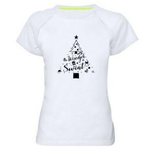 Koszulka sportowa damska Choinka Świąteczna