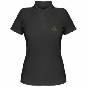 Damska koszulka polo Choinka z gwiazdą i sercami