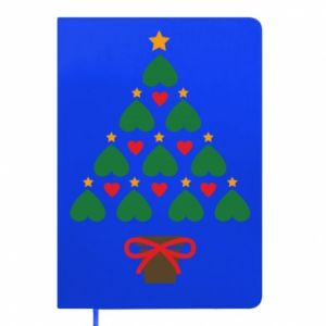 Notepad Christmas tree with a star and hearts