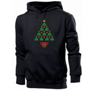 Men's hoodie Christmas tree with a star and hearts
