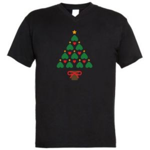 Men's V-neck t-shirt Christmas tree with a star and hearts