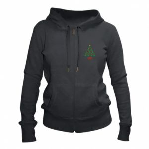Women's zip up hoodies Christmas tree with a star and hearts