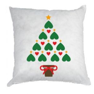 Pillow Christmas tree with a star and hearts