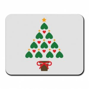Mouse pad Christmas tree with a star and hearts