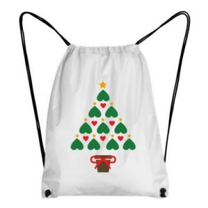 Backpack-bag Christmas tree with a star and hearts