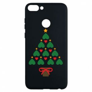 Phone case for Huawei P Smart Christmas tree with a star and hearts
