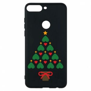 Phone case for Huawei Y7 Prime 2018 Christmas tree with a star and hearts