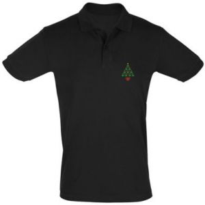 Men's Polo shirt Christmas tree with a star and hearts