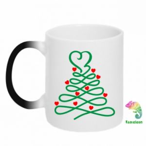 Chameleon mugs Christmas tree with hearts