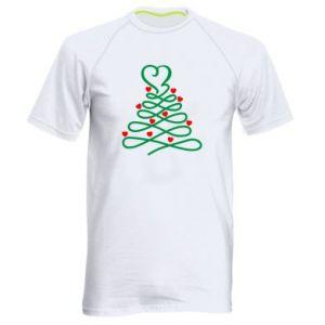 Męska koszulka sportowa Choinka z sercami
