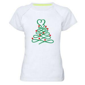 Damska koszulka sportowa Choinka z sercami