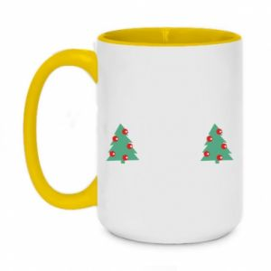 Two-toned mug 450ml Christmas trees on the chest