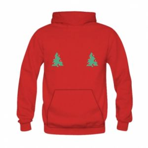 Kid's hoodie Christmas trees on the chest