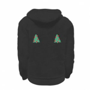 Kid's zipped hoodie % print% Christmas trees on the chest