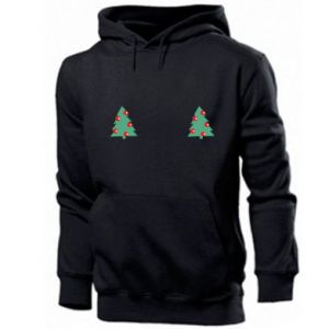 Men's hoodie Christmas trees on the chest
