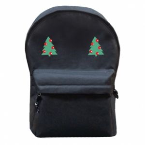 Backpack with front pocket Christmas trees on the chest